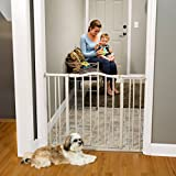 """Arched Auto-Close Gate with Easy-Step"" by North States: Extra-Low Threshold bar Reduces Trip Hazards When Stepping Through. Pressure Mount. Fits Openings 28.5″ to 38.25″ Wide (30″ Tall, Gray)"