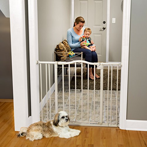 """Arched Auto-Close Gate with Easy-Step"" by North States: Extra-Low Threshold bar Reduces Trip Hazards When Stepping Through. Pressure Mount. Fits Openings 28.5″ to 38.25″ Wide (30″ Tall, Gray) Review"