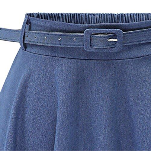 Gonna moda Midi jeans la la cintura taglia denim unita base l'estate base ginocchio al alla Gonne Scuro con in vestono gonne moda gratis Blu tinta casual di per rxraOqUC