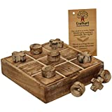 Crafkart Tic Tac Toe Classic Board Games Noughts and Crosses Family Brain Teaser Puzzle Coffee Table for Adults and Children All Ages - Christmas Stocking Stuffer