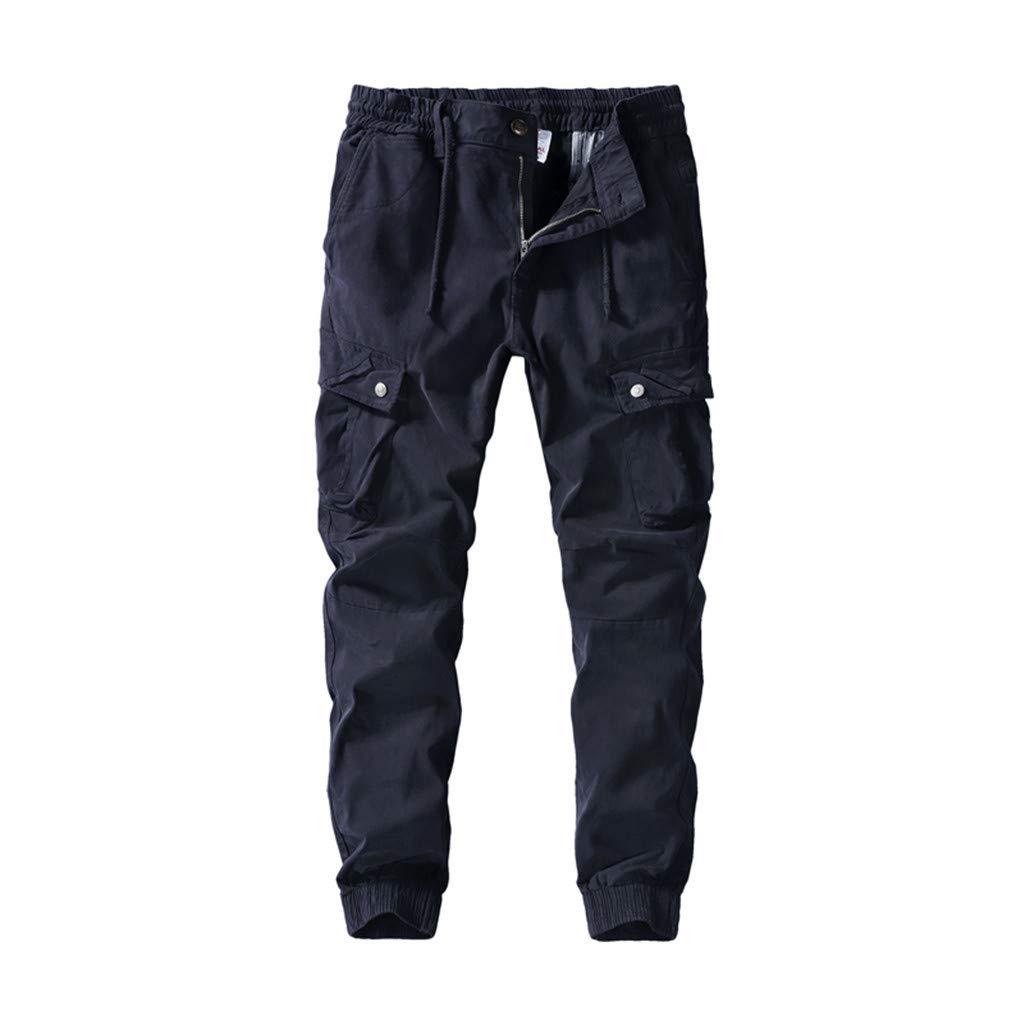 FKSESG Pants for Men Men's Pleated Multi Pockets Mid Waist Solid Loose Long Pants Dark Blue