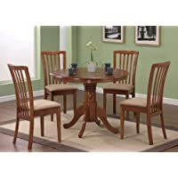 5pc Pedestal Dining Table & Chairs Set Dark Oak Finish