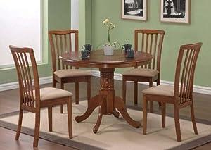 5pc Pedestal Dining Table U0026 Chairs Set Dark Oak Finish