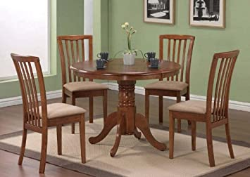 5pc pedestal dining table chairs set dark oak finish - Table And Chair Sets Kitchen
