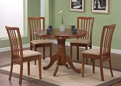 5pc Pedestal Dining Table u0026 Chairs Set Dark Oak Finish & Amazon.com - 5pc Pedestal Dining Table u0026 Chairs Set Dark Oak Finish ...