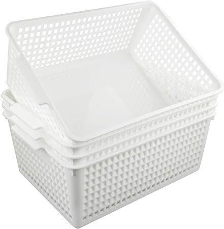 Fosly Cestas de Almacenamiento Grandes, Juego de 4, Cesta de Plástico Blanco: Amazon.es: Hogar