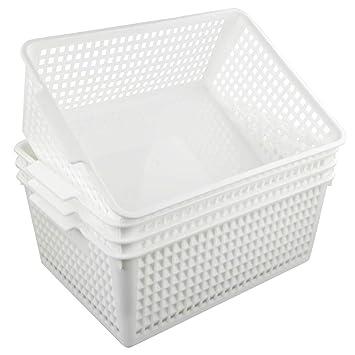 4er Set Kunststoffkorb Wei/ß Fosly Gro/ß Aufbewahrungsk/örbe