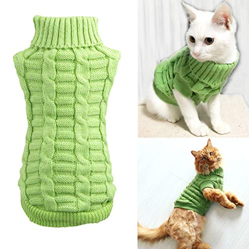 Knitted Braid Plait Turtleneck Sweater Knitwear Outwear for Dogs & Cats (Green, S)