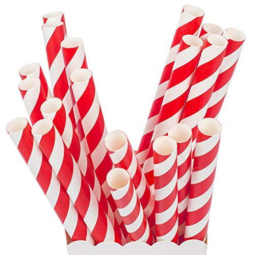 ZOOYOO Red Stripe Boba Paper Straws Jumbo Straws Large Caliber 12mm -