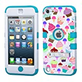 iPod touch 5th 6th Generation White Plastic/Blue Silicone 3-Piece Style Hybrid Hard Case Cover for Apple- For Girls And Boys-Shockproof Dustproof with Stand (Cupcakes)
