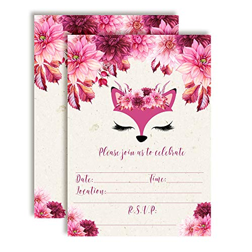 Fancy Fox Face Watercolor Floral Birthday Party Invitations, 20 5