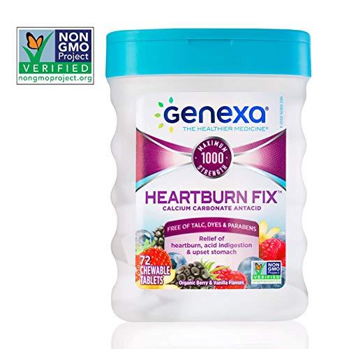 Genexa Heartburn Fix | Calcium Carbonate Antacid, Non-GMO, Certified Gluten-Free & Certified Vegan | Free of Talc, Dyes & Parabens | 72 Tablets