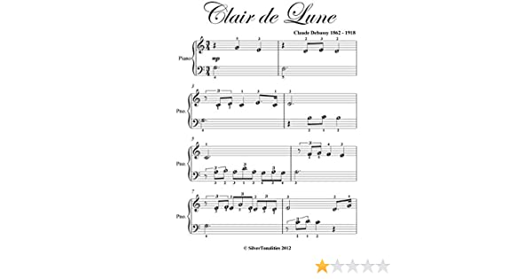Clair De Lune Debussy Easiest Beginner Piano Sheet Music Kindle