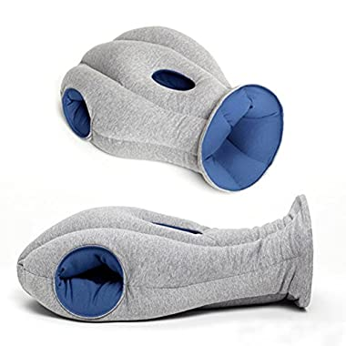 Travel Pillow, Push-Button Inflatable Neck Pillow, Height-Adjustable U-shape Pillow with Airplane Travel Packsack (Grey, about 10.01 Ouces)