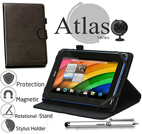 """Price comparison product image Navitech 7"""" Brown Case / Cover With 360 Rotational Stand & Stylus Pen For The Blaupunkt Polaris QC / Blaupunkt Discovery 750W / Blaupunkt Discovery 785W"""