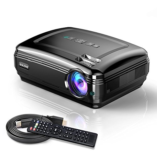 Video Projectors, SOLOVE HDMI Projector Full HD 1080P Home Theater Projector for Movie and PowerPoint Presentation for Laptop PC TV iPhone Android ()