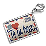 Neonblond I Love You Romanian Love Letter from Romania - Charm Lobster Clasp clip on