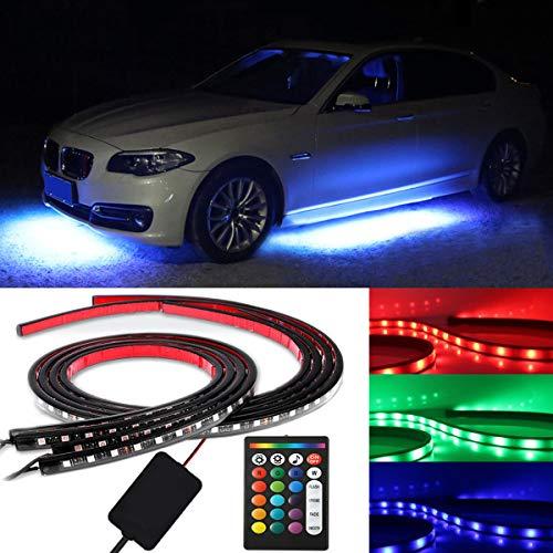 - RangerRider Car LED Neon Light Strip Kit, 4 Pcs Car under glow Waterproof RGB LED Strip Lights with Sound Active and Wireless Remote Control