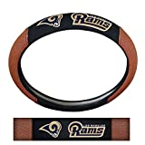 Los Angeles Rams NFL Team Logo Auto Car Truck SUV Vehicle Universal Fit Poly-Suede Mesh with Football Skin Premium Embroidered Steering Wheel Cover