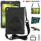 ZenRich New iPad 9.7 2017 2018 Case - 360 Degree Rotatable with Kickstand - Hand Strap and Shoulder Strap case - 3 Layer Hybrid Heavy Duty Shockproof case for iPad 9.7 5th 6th Generation (Black)