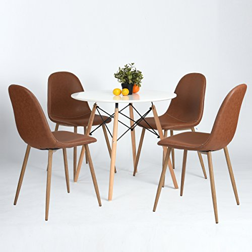 Homycasa Set of 4 Style Leather Stable Chairs with Metal Legs Kitchen Dining Room Chairs (Vantage A)