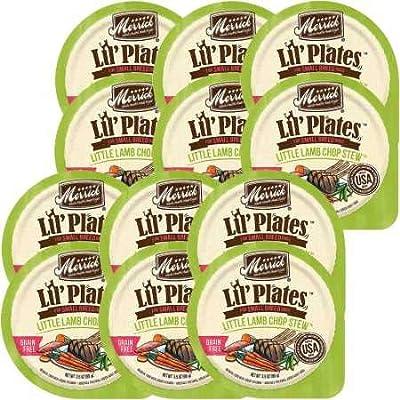 Merrick Lil' Plates Grain Free Small Breed Wet Dog Food, 3.5 Oz, 12 Count Little Lamb Chop Stew