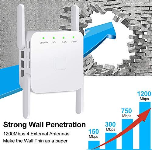 FeliSun Repetidor WiFi AC 1200Mbps Extensor WiFi, Amplificador WiFi Doble Banda 2.4GHz y 5GHz Repetidores de Red,Extensor de Cobertura WiFi con Función WPS (Blanco)