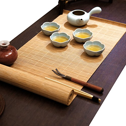 Tea Ceremony – Kung Fu Tea Natural Bamboo Tea Table Placemat Handmade Bamboo Slat Table Runner 12 By 39-Inch, Natural