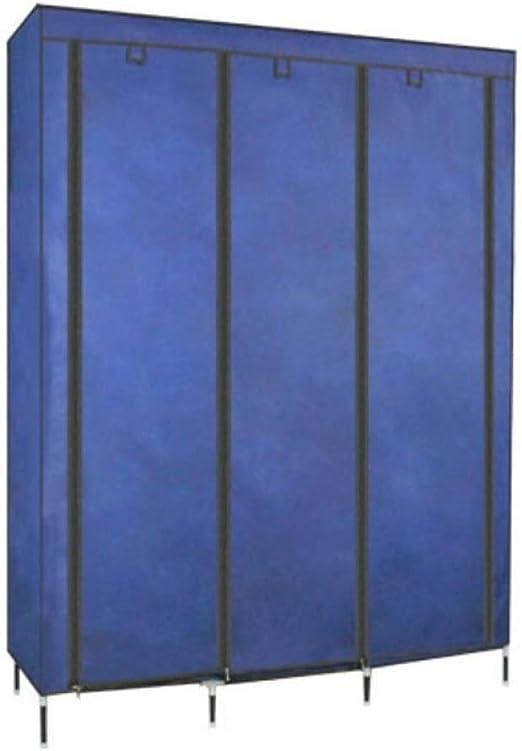ALYR Armarios de Tela para Ropa, Tela no Tejida Armario Ropero con Barra de Colgar Armario Grande de Tela de Tubo de Acero,Blue_170*126 * 45cm: Amazon.es: Hogar