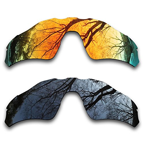 2 Pair Polarized Lens Replacement for Oakley Radar EV Path Black&Fire - Orange Ev