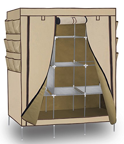 Portable Storage Organizer Wardrobe Closet, Beige, 13 Customizable Shelves with Sturdy, Rust-Proof Stainless Steel Frame- 9 Side Pockets - Assemble Easy, 69 x 51 x 17.5, 15 Cubic Ft
