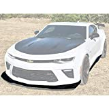 Replacement For 2016-2018 Chevrolet Camaro SS Models | EOS ZL1 1LE Style ABS Plastic PRIMER BLACK Front Bumper Lower Lip Splitter With Side Skirt Rocker Panels Extension COMBO KIT