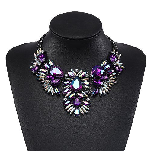Holylove Charming Choker Necklace in Purple Glass Beads & Crystal with Gift Box- HLN00021 Purple Purple Necklace Earrings