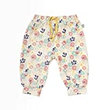 Finn + Emma Organic Cotton Pants for Baby Boy or Girl - Wildflowers, 3-6 Months