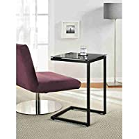 Avenue Greene Modern Black Metal/Glass Top C Table, Black