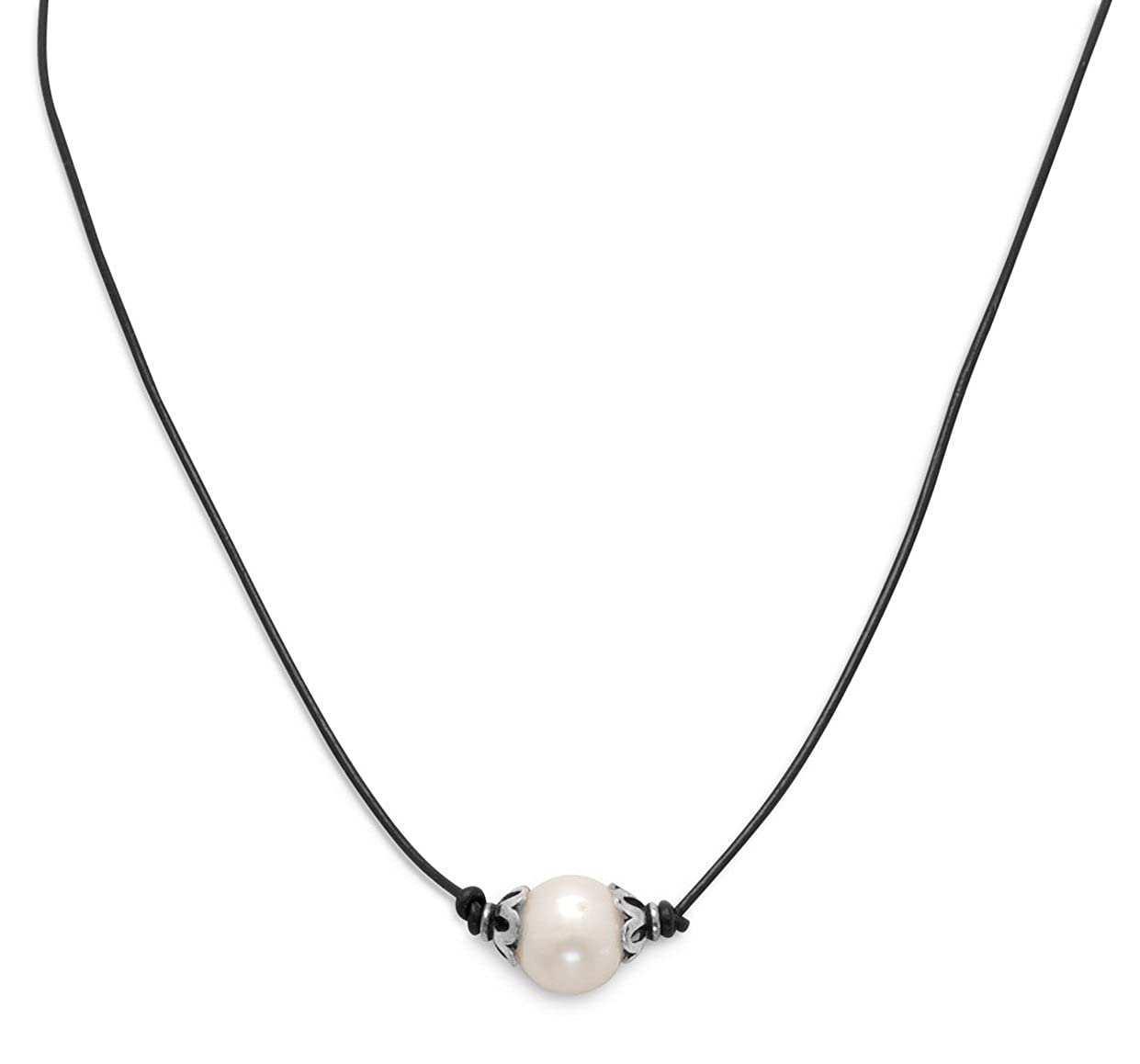 16 inch Leather//Sterling Silver Necklace 9mm Bleached White Cultured Freshwater Potato Pearls