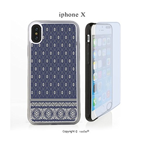 iPhone X Case, vanfan iphone X/10 Case- Indian Sari Print with Flowers Tribal Theme(transparence) Design Hard PC Back Protective Cover Skin Case For Apple iphone X-iPhone X Screen Protector Gift