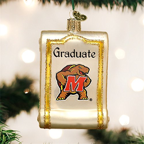 Collegiate Diploma Glass Ornament (Maryland Terrapins) -