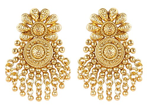 MUCH-MORE Bollywood Ethnic Fashion Gold Tone Faux Pearl Polki Bali Jhumki Earring Indian Traditional Jewelry For Women (6316)