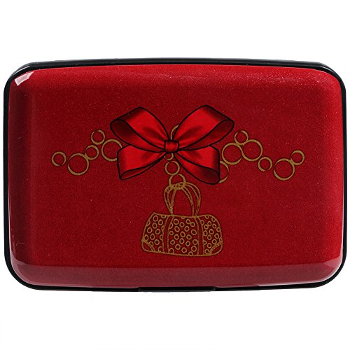 Vichline Aluminum RFID Blocking Slim Metal Wallet Credit Card Holder for Men Women (Red Bow Jewelry)
