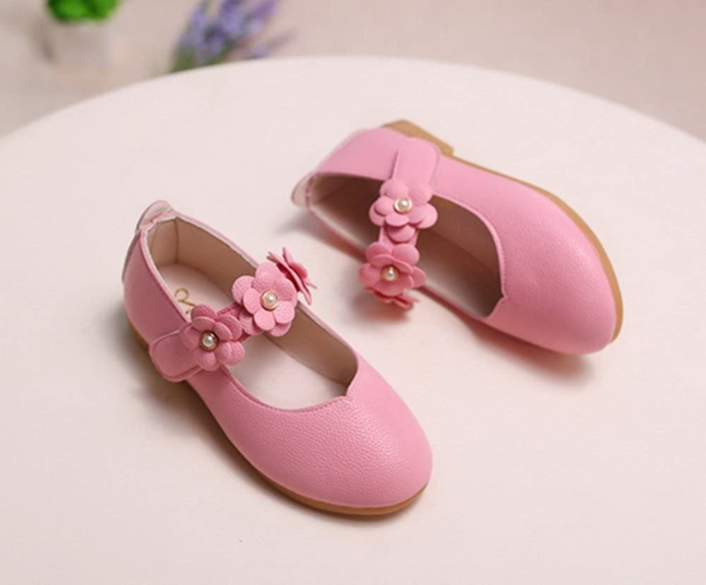 Vokamara Baby Toddler Girls Soft PU Leather Mary Janes Flowers Bow Dress Shoes