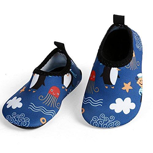 L-RUN Toddler Waterproof Quick Dry Aqua Water Shoes Blue US 12-18 Months=EU 19-20 by L-RUN