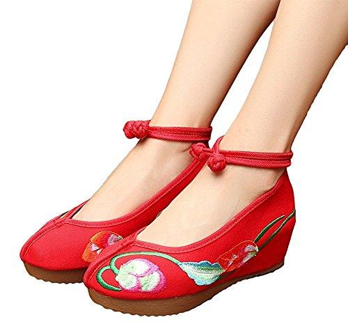 Lazutom - Sandalias de vestir para mujer Red