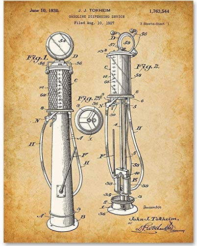 Gasoline Pump Petroliana - 11x14 Unframed Patent Print - Makes a Great Gift Under $15 For Classic Car Collectors and Car Enthusiasts