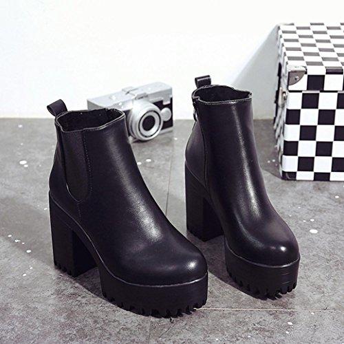 Plataformas Grueso Corto Invierno Lmmvp Negro Mujer Talón Botas Otoño Ankle  De Vendimia Moda Botines Cuero Cuadrado Zapatos OqvTx 473605e29d53e
