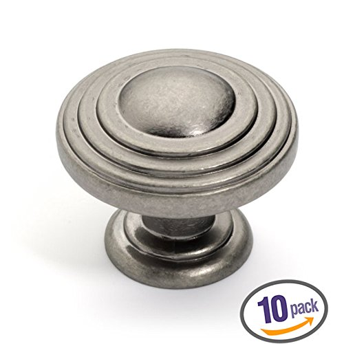 Dynasty Hardware K-3118-AN-10PK Newport Cabinet Hardware Knob, Antique Nickel, (Newport Cabinet Hardware Knob)