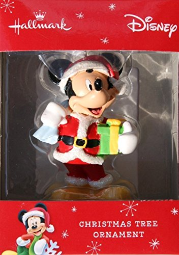 Hallmark Disney Santa Mickey Mouse with Present Christmas Ornament (Mouse Micky Christmas)