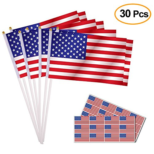 Hand American Flag Decal (Kuuqa 30Pcs 5x8 Inch American Flags Hand Held Mini US Stick Flags and 24PCS American Flag Stickers Patriotic Sticker for 4th of July Decoration and Patriotic Events)