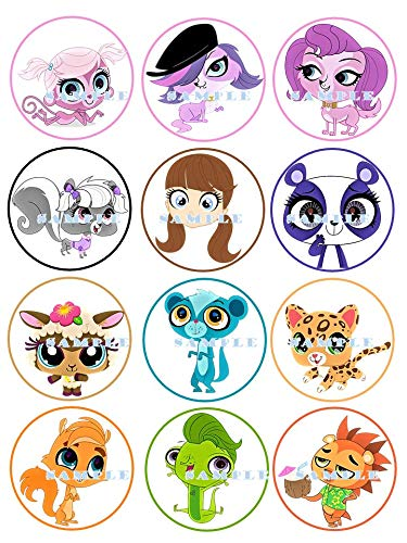 LITTLEST PET SHOP : Edible birthday cupcake toppers premium frosting sheets -