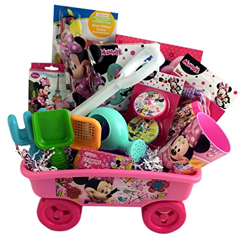 Deluxe Minnie Mouse Sand Gift Basket Wagon for Girls for Birthday, Get Well, Surprise Party
